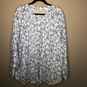 Blue/white Woman Within Blouse Size 3X